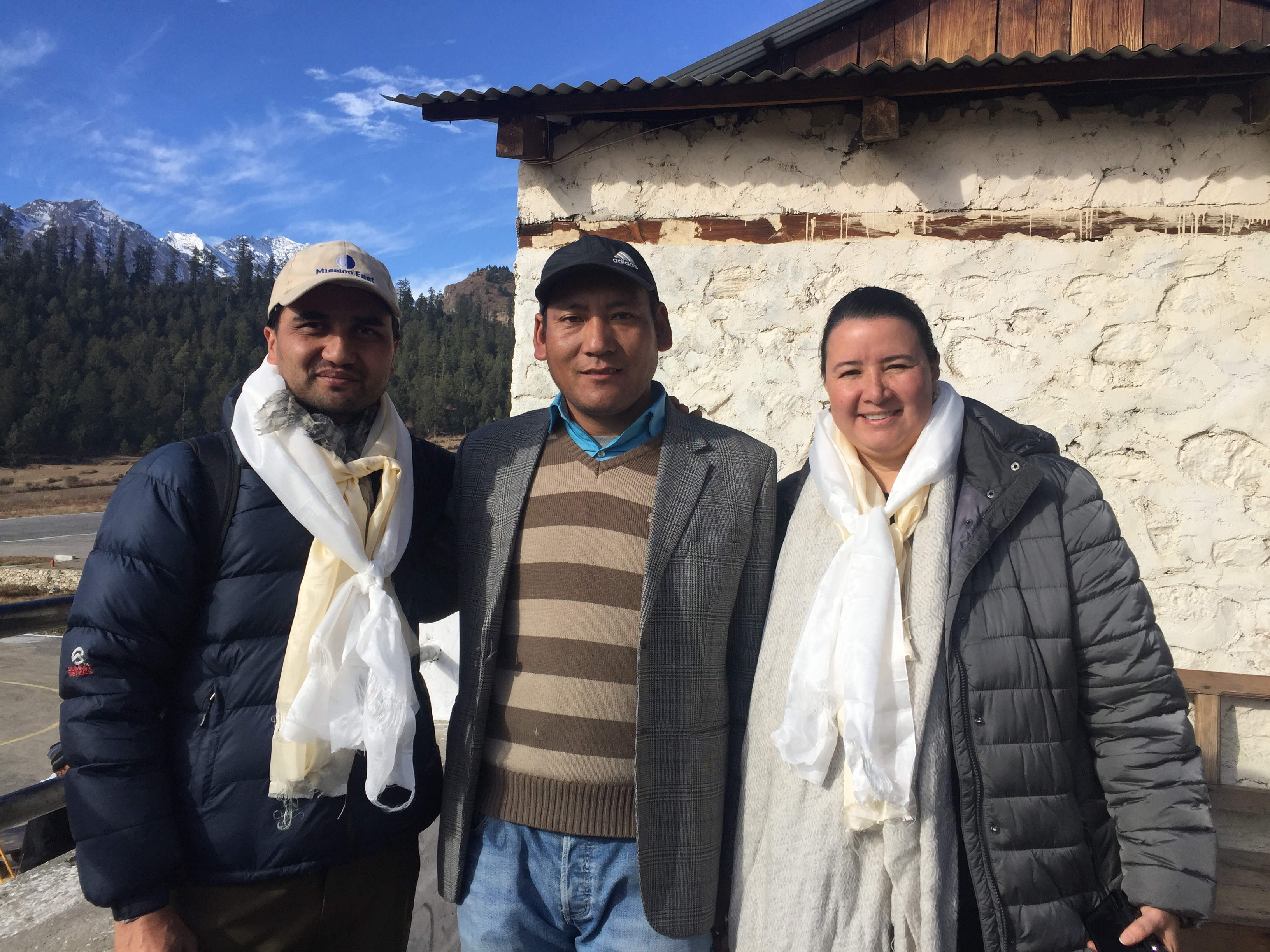 Chhitup Lama, Santosh Sharma and Alex in Simkot Airport
