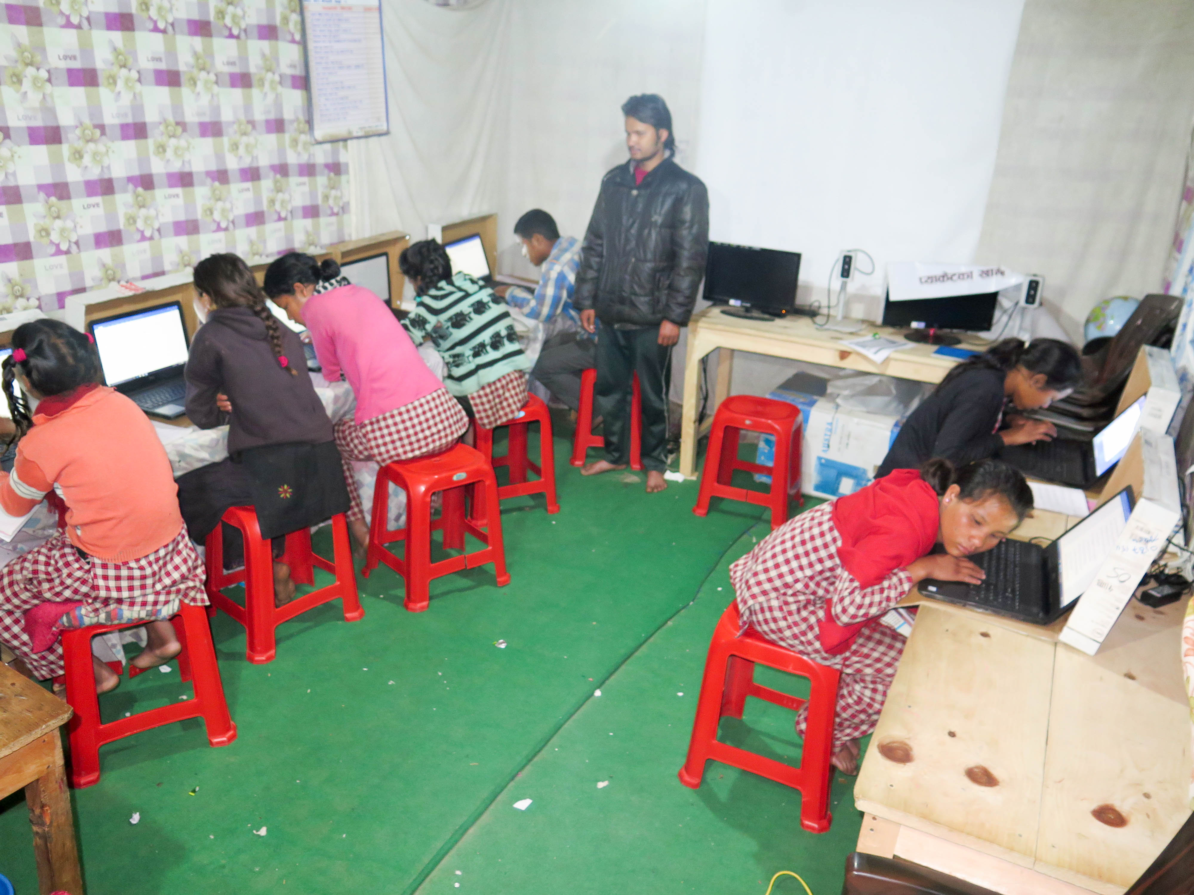 Special teacher Ram Air teaching computer to children of HEAD Vision home and HEAD Enable home of HEAD Nepal