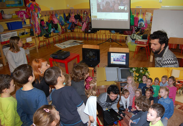 Polish Children talking with HEAD VISION HOME's children