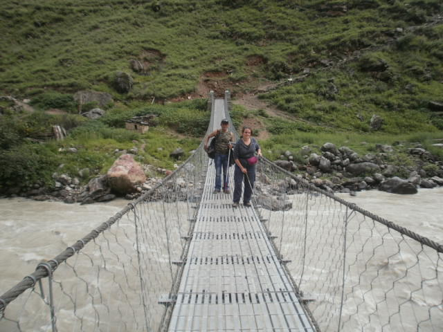 Blind people on a hanging bridge